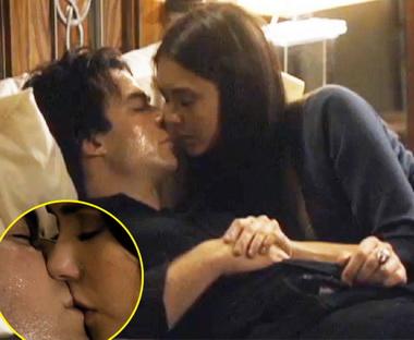 Йен Сомерхолдер и Нина Добрев целуются